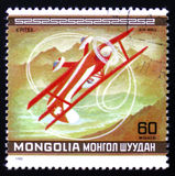 Pits Plane. MOSCOW, RUSSIA - FEBRUARY 12, 2017: A Stamp printed in MONGOLIA shows the `Pits` Plane, from the series `10th World Aerobatic Championship`, circa Stock Photography