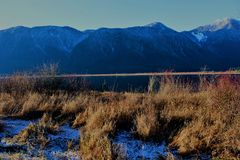 Pitt Lake Mountains, BC, Canada. Part of the mountain range in Pitt Lake, BC, Canada stock image