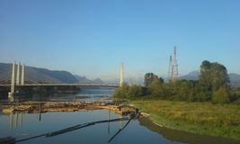 Pitt River Bridge and Log Booms Stock Photos