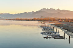 Pitt River and Golden Ears Mountain at sunrise Royalty Free Stock Photos