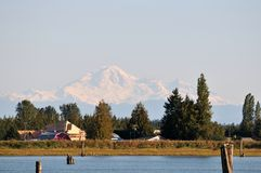 Pitt river with mt baker in background Stock Images