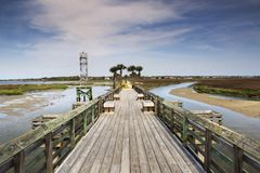 Pitt Street Bridge Charleston South Carolina. Pitt Street Bridge, also known as the Cove Inlet Causeway, is part of a modern greenway for pedestrians at Pickett royalty free stock photography