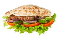 Pitta avec l'hamburger Photo stock