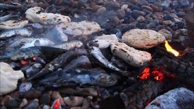 Pitta bread and fish bbq stock video footage