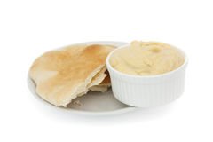 Pitta bread and hummous Royalty Free Stock Photography