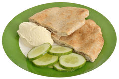 Pitta Bread with Hummus and Cucumber Stock Images