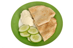 Pitta Bread with Hummus and Cucumber Stock Photography
