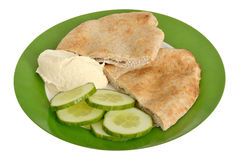 Pitta Bread with Hummus and Cucumber Stock Image