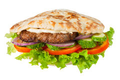 Pitta met hamburger Stock Foto