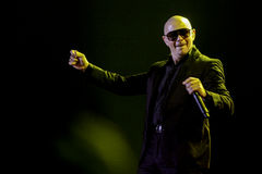 Pittbul performs at Live Concert in Jakarta. Armando Christian Perez aka Pitbull performs at concert on May 12, 2010 in Jakarta, Indonesia Royalty Free Stock Image