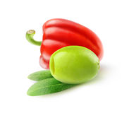 Pitted green olive and red bell pepper Royalty Free Stock Image
