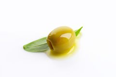 Pitted green olive Stock Images