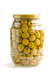 Pitted green olives. In jar royalty free stock photography
