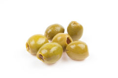 Pitted green olives  on white Stock Images