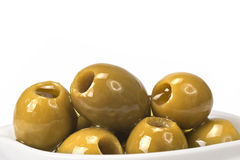 Pitted olives on a white background royalty free stock image