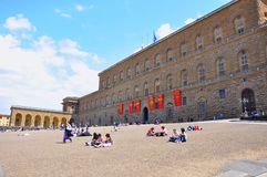 Pitti palace, Florence city , Italy. Pitti palace in Florence , Italy . The Palazzo Pitti  in English sometimes called the Pitti Palace, is a vast mainly Royalty Free Stock Photography