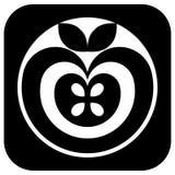 Pittogramma del Apple in bianco e nero Fotografia Stock Libera da Diritti