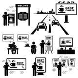 Pittogramma del tabellone per le affissioni del bordo di pubblicità Immagini Stock Libere da Diritti
