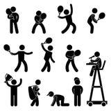 Pittogramma dell'icona del pittogramma dell'arbitro del giocatore di tennis Immagini Stock Libere da Diritti