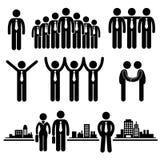 Pittogramma dell'operaio del gruppo dell'uomo d'affari di affari illustrazione di stock