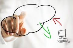 Pittogramma di calcolo della nuvola su un'interfaccia virtuale Fotografia Stock Libera da Diritti