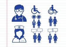 Pittogramma di simbolo del segno del dottore Nurse Patient Sick Icon Fotografia Stock