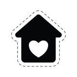 pittogramma romanzesco dell'ornamento di amore domestico del cuore illustrazione di stock