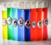 Pittogrammi chimici stati allineati del pericolo - rischio per la salute serio fotografia stock