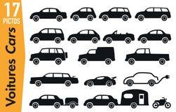 17 pittogrammi del contrassegno sui modelli differenti dell'automobile illustrazione vettoriale