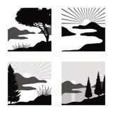Pittogrammi del paesaggio Fotografia Stock