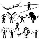 Pittogrammi dell'acrobata degli esecutori di circo Fotografia Stock Libera da Diritti