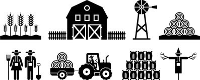 Pittogrammi dell'azienda agricola Fotografie Stock