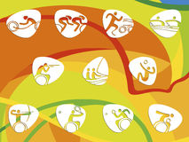 Pittogrammi dell'icona dei giochi di estate del Brasile Immagini Stock Libere da Diritti