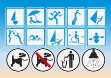 Pittogrammi della spiaggia Fotografie Stock Libere da Diritti