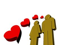 Pittogrammi nell'amore Fotografie Stock
