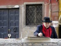 Pittore della via di Venezia Fotografie Stock Libere da Diritti