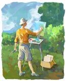 Pittore Illustration del paesaggio dell'aria di Plein Fotografia Stock Libera da Diritti
