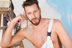 Pittore nudo sexy del petto Immagine Stock