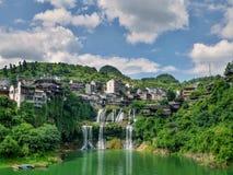 Pittoresk forntida stad i det Hunan landskapet i Kina - hibiskusstad Arkivfoton