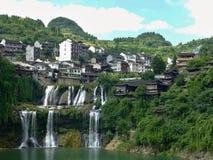 Pittoresk forntida stad i det Hunan landskapet i Kina - hibiskusstad Arkivbilder