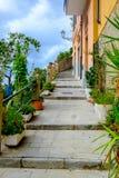 Pittoresk gå gränd som klättrar upp i Riomaggiore, Cinque Ter Royaltyfri Foto