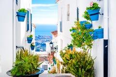 Pittoresk gata av Mijas med blomkrukor i fasader Royaltyfria Foton