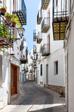 Pittoresk gata i Valencia på en solig dag Royaltyfria Foton