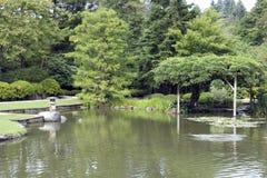 Pittoresk japanträdgård med damm Royaltyfria Foton
