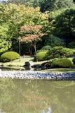 Pittoresk japanträdgård med damm Arkivbild