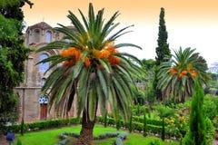 Pittoresk kyrkaträdgård Arkivbilder