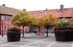 Pittoresk liten fyrkant i Ystad, Sverige royaltyfri foto