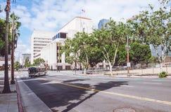 Pittoresk morgon Los Angeles Kollektivtrafik till Main Street Fotografering för Bildbyråer
