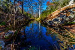 Pittoresk naturplats av en stor granitstenblock som omges av stora träd för skallig cypress på Hamilton Creek Arkivfoto