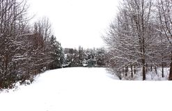 Pittoresk plats för snö i vinter arkivbild